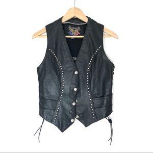 VTG Silver Studded Black Leather Moto Biker Vest